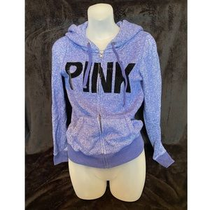 VS PINK Zip-Up Velvet Logo Hoodie Small